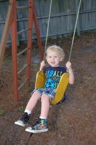 John has also really enjoyed swinging in a big boy swing!!