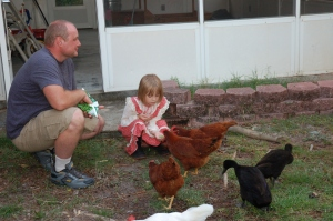 And a shot of Jessica feeding some of our chickens out of her hand!